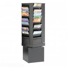 Steel revolving literature dispenser