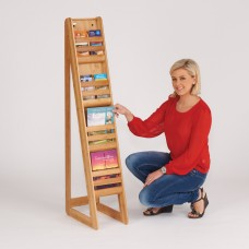 Bamboo freestanding literature dispenser - 4 x A4 or 8 x 1/3 A4
